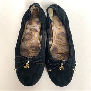 Sam Edelman black leather Felicia bow ballet flats
